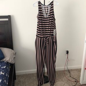 Black and pink striped jumpsuit